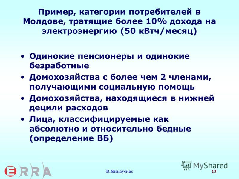 13 В.Янкаускас Пример, категории потребителей в Молдове, тратящие более 10% дохода на электроэнергию (50 кВтч/месяц) Одинокие пенсионеры и одинокие безработные Домохозяйства с более чем 2 членами, получающими социальную помощь Домохозяйства, находящи