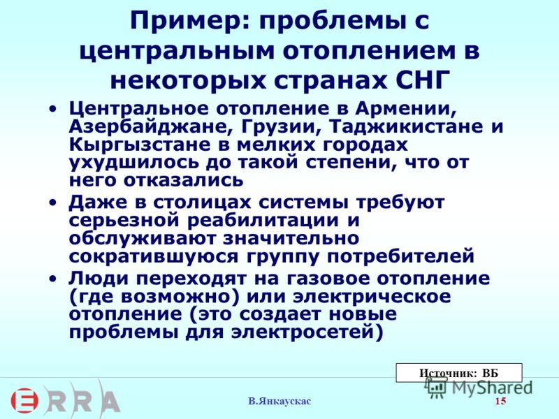 15 В.Янкаускас Пример: проблемы с центральным отоплением в некоторых странах СНГ Центральное отопление в Армении, Азербайджане, Грузии, Таджикистане и Кыргызстане в мелких городах ухудшилось до такой степени, что от него отказались Даже в столицах си
