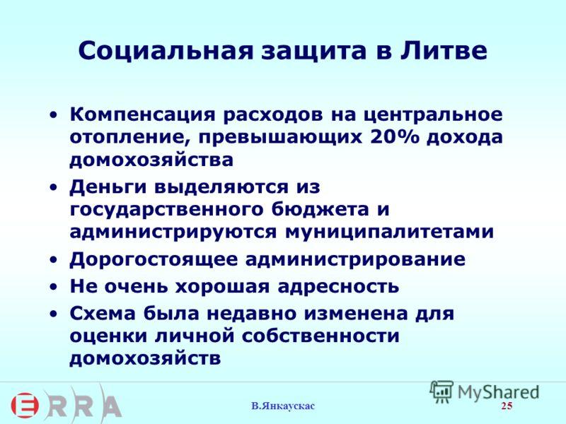 25 В.Янкаускас Социальная защита в Литве Компенсация расходов на центральное отопление, превышающих 20% дохода домохозяйства Деньги выделяются из государственного бюджета и администрируются муниципалитетами Дорогостоящее администрирование Не очень хо