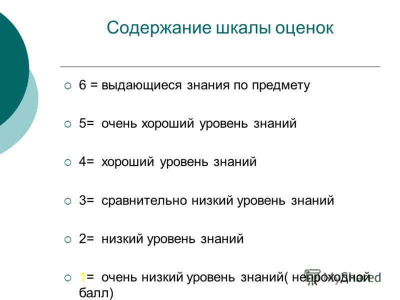 Содержание шкалы оценок 6 = выдающиеся знания по предмету 5= очень хороший уровень знаний 4= хороший уровень знаний 3= сравнительно низкий уровень знаний 2= низкий уровень знаний 1= очень низкий уровень знаний( непроходной балл)