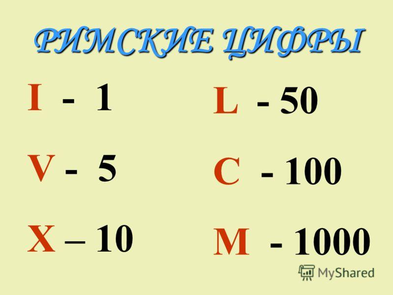 РИМСКИЕ ЦИФРЫ I - 1 V - 5 X – 10 L - 50 C - 100 M - 1000