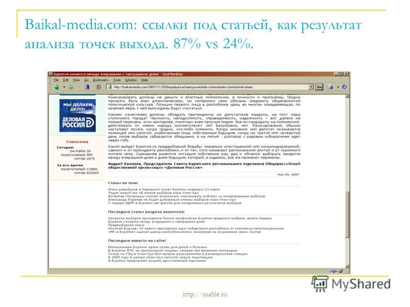Baikal-media.com: ссылки под статьей, как результат анализа точек выхода. 87% vs 24%.
