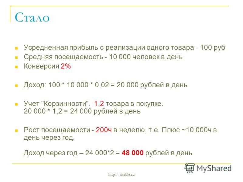 http://usable.ru Стало Усредненная прибыль с реализации одного товара - 100 руб Средняя посещаемость - 10 000 человек в день Конверсия 2% Доход: 100 * 10 000 * 0,02 = 20 000 рублей в день Учет