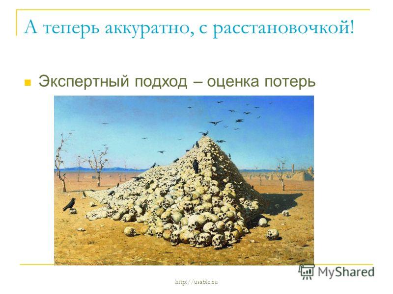 http://usable.ru А теперь аккуратно, с расстановочкой! Экспертный подход – оценка потерь