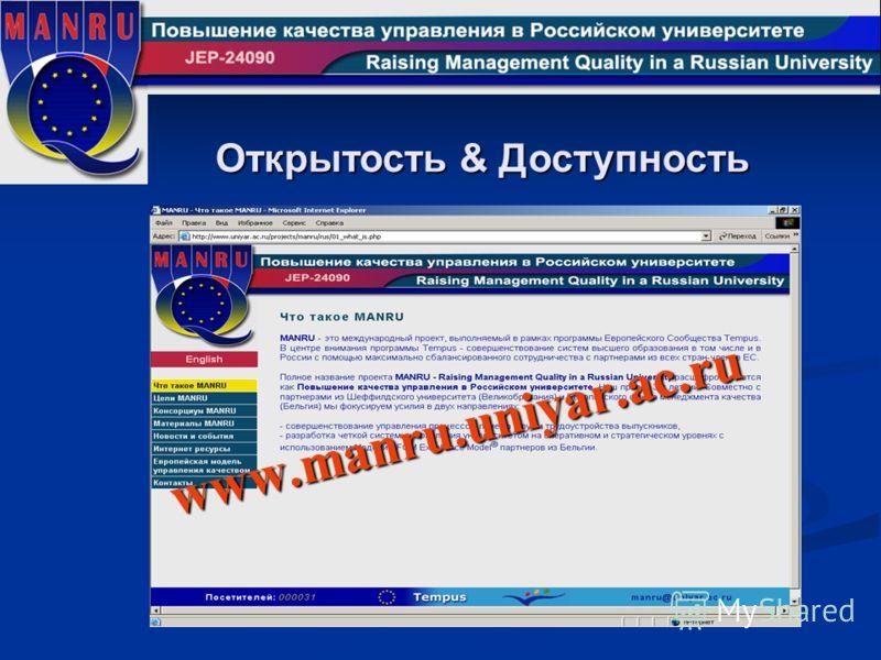 Открытость & Доступность w w w. m a n r u. u n i y a r. a c. r u