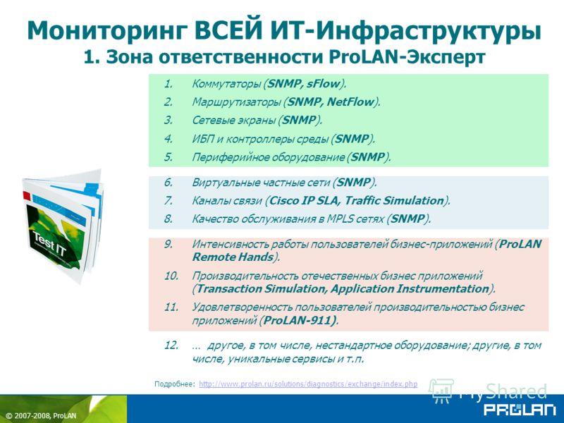 © 2007-2008, ProLAN Мониторинг ВСЕЙ ИТ-Инфраструктуры 1. Зона ответственности ProLAN-Эксперт Подробнее: http://www.prolan.ru/solutions/diagnostics/exchange/index.phphttp://www.prolan.ru/solutions/diagnostics/exchange/index.php 1.Коммутаторы (SNMP, sF