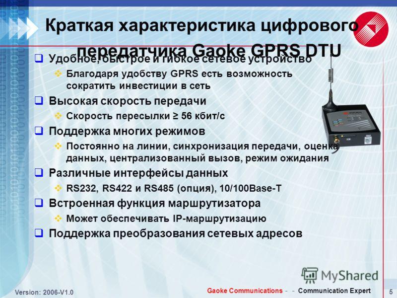 4 Version: 2006-V1.0 Gaoke Communications Communication Expert Централизованная система считывания показаний счетчиков на базе GPRS Сервер базы данных Терминальны й сервер Терминал PDSN Маршрутизатор доступа предприятий GPRS Реальные клиенты: China P