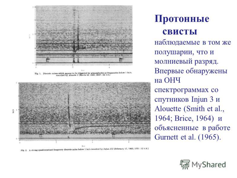 Протонные свисты наблюдаемые в том же полушарии, что и молниевый разряд. Впервые обнаружены на ОНЧ спектрограммах со спутников Injun 3 и Alouette (Smith et al., 1964; Brice, 1964) и объясненные в работе Gurnett et al. (1965).