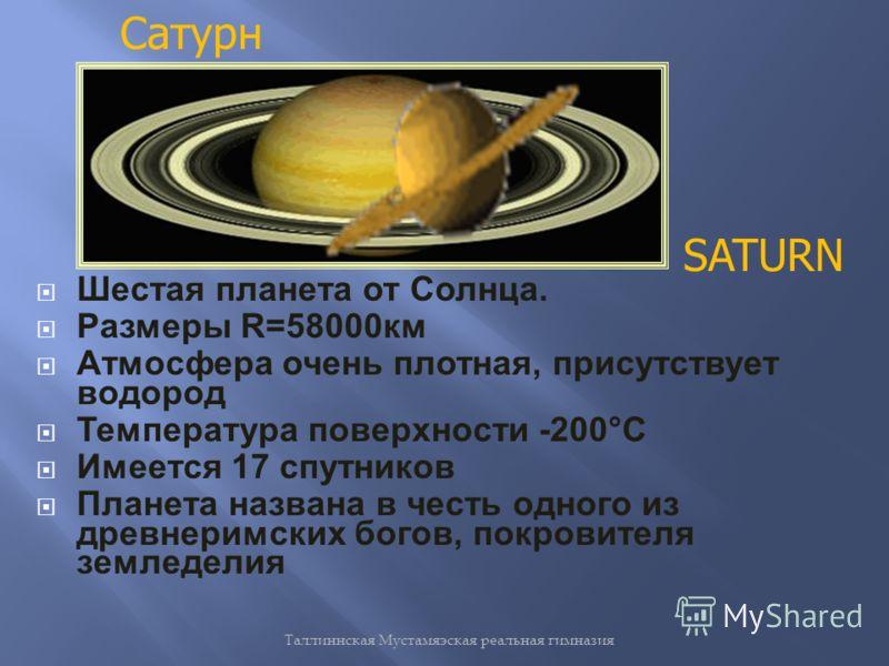 Таллиннская Мустамяэская реальная гимназия Шестая планета от Солнца. Размеры R=58000км Атмосфера очень плотная, присутствует водород Температура поверхности -200°С Имеется 17 спутников Планета названа в честь одного из древнеримских богов, покровител