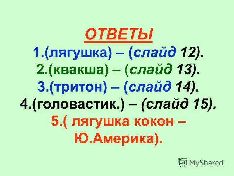 ОТВЕТЫ 1.(лягушка) – (слайд 12). 2.(квакша) – (слайд 13). 3.(тритон) – (слайд 14). 4.(головастик.) – (слайд 15). 5.( лягушка кокон – Ю.Америка).
