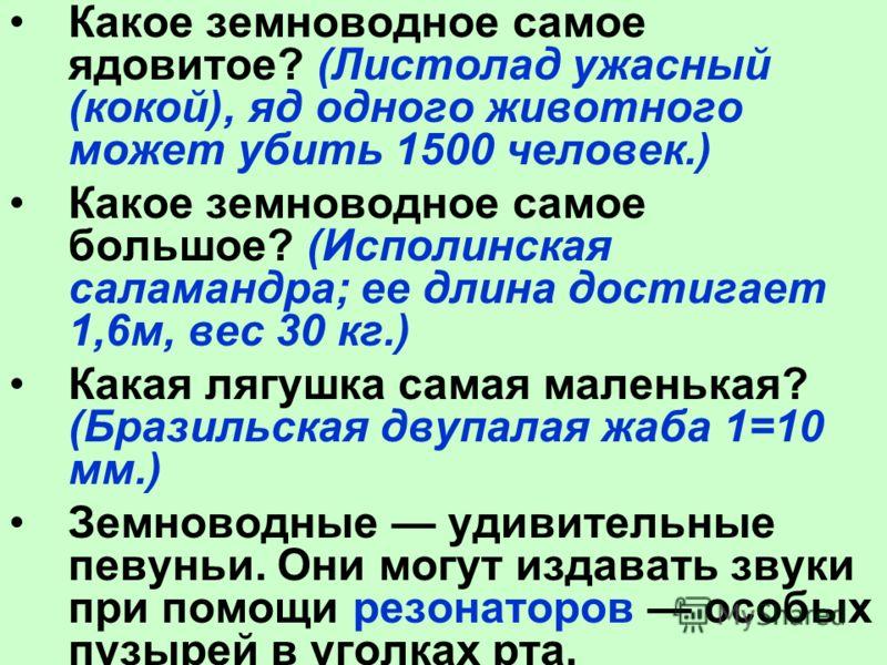 Какое земноводное самое ядовитое? (Листолад ужасный (кокой), яд одного животного может убить 1500 человек.) Какое земноводное самое большое? (Исполинская саламандра; ее длина достигает 1,6м, вес 30 кг.) Какая лягушка самая маленькая? (Бразильская дву