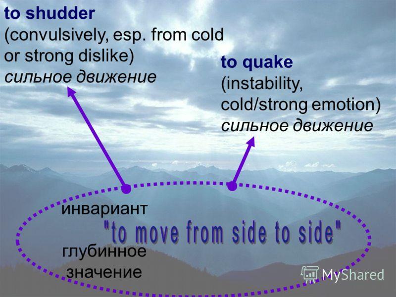 Схематично это может быть представлено следующим рисунком: инвариант глубинное значение to tremble (fear, excitement, weakness) to shiver (slightly) fear or cold легкая степень to shake (to come to move, strong force or rudeness) сильная степень инва