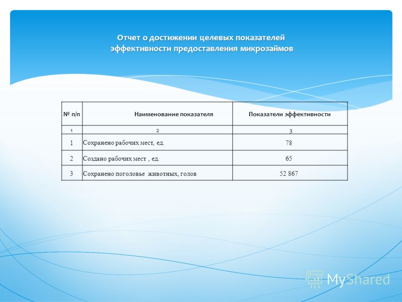 Отчет о достижении целевых показателей эффективности предоставления микрозаймов п/п Наименование показателяПоказатели эффективности 12 3 1Сохранено рабочих мест, ед.78 2Создано рабочих мест, ед.65 3Сохранено поголовье животных, голов52 867