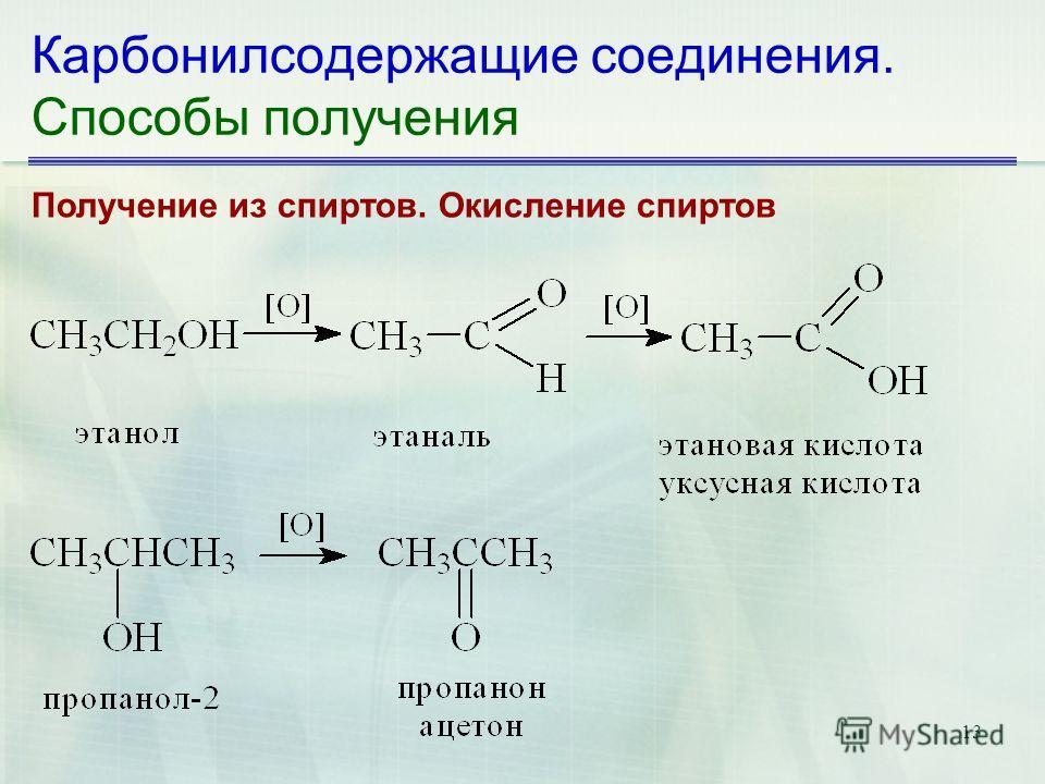 13 Карбонилсодержащие соединения. Способы получения Получение из спиртов. Окисление спиртов