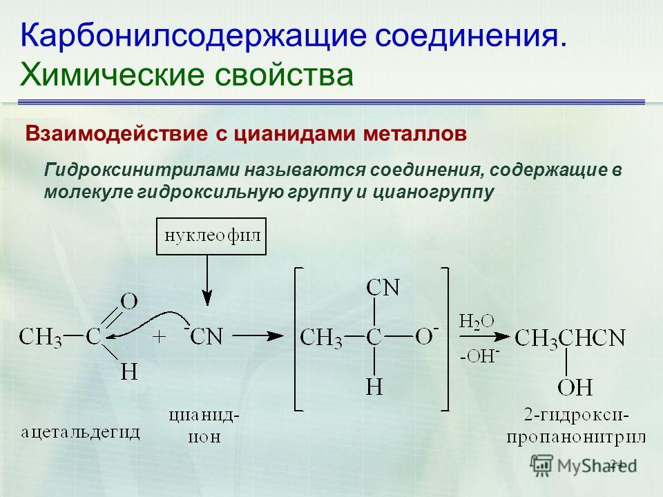 24 Карбонилсодержащие соединения. Химические свойства Взаимодействие с цианидами металлов Гидроксинитрилами называются соединения, содержащие в молекуле гидроксильную группу и цианогруппу