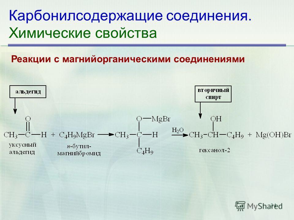 34 Карбонилсодержащие соединения. Химические свойства Реакции с магнийорганическими соединениями