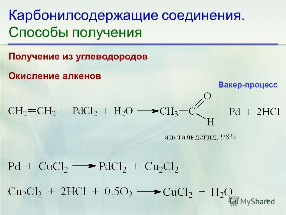 8 Карбонилсодержащие соединения. Способы получения Получение из углеводородов Окисление алкенов Вакер-процесс