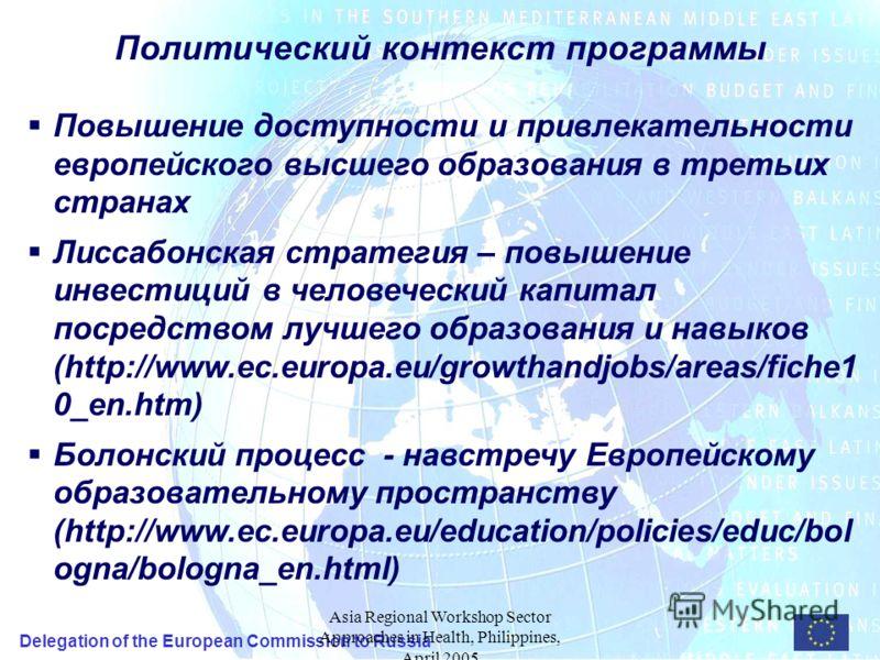 Delegation of the European Commission to Russia Asia Regional Workshop Sector Approaches in Health, Philippines, April 2005 Политический контекст программы Повышение доступности и привлекательности европейского высшего образования в третьих странах Л