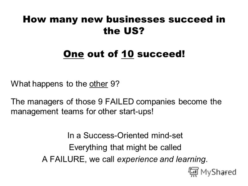 57 How many new businesses succeed in the US? One out of 10 succeed! What happens to the other 9? The managers of those 9 FAILED companies become the management teams for other start-ups! In a Success-Oriented mind-set Everything that might be called