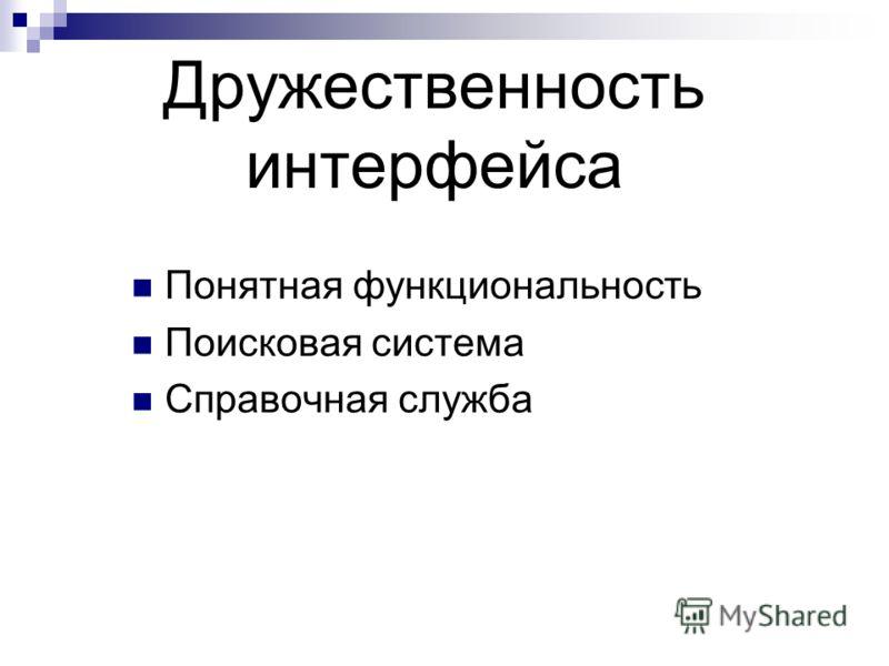 Дружественность интерфейса Понятная функциональность Поисковая система Справочная служба