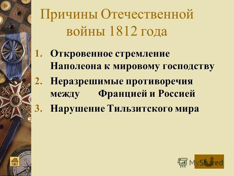 Причины Отечественной войны 1812 года 1.Откровенное 1.Откровенное стремление Наполеона к мировому господству 2.Неразрешимые 2.Неразрешимые противоречия между Францией и Россией 3.Нарушение 3.Нарушение Тильзитского мира