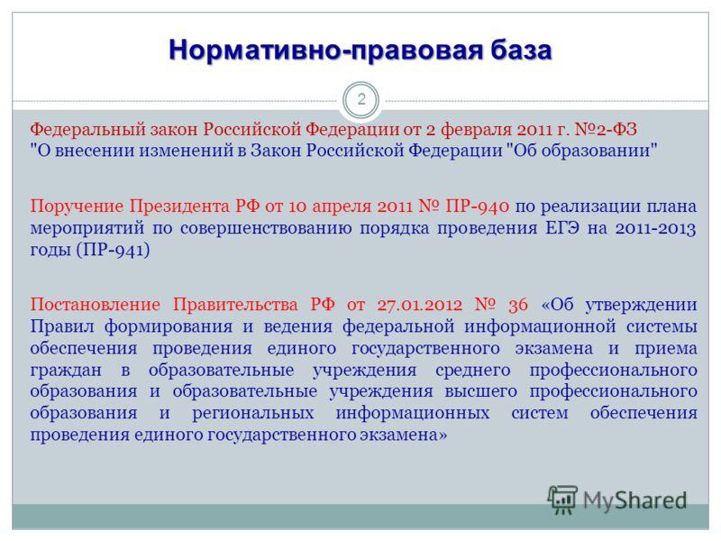 Нормативно-правовая база Федеральный закон Российской Федерации от 2 февраля 2011 г. 2-ФЗ