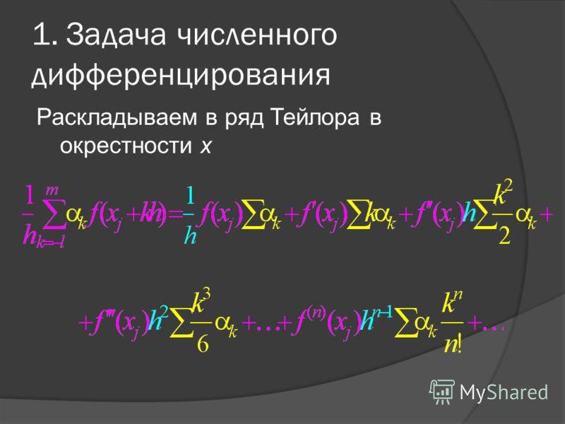 1. Задача численного дифференцирования Раскладываем в ряд Тейлора в окрестности x