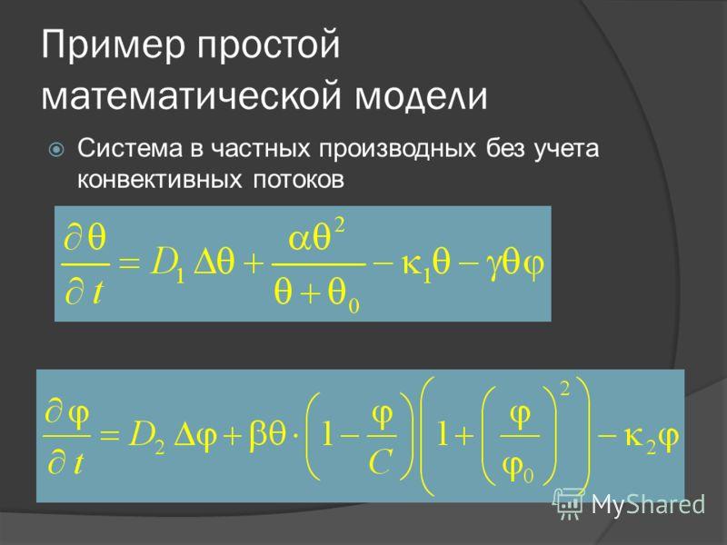 Пример простой математической модели Система в частных производных без учета конвективных потоков