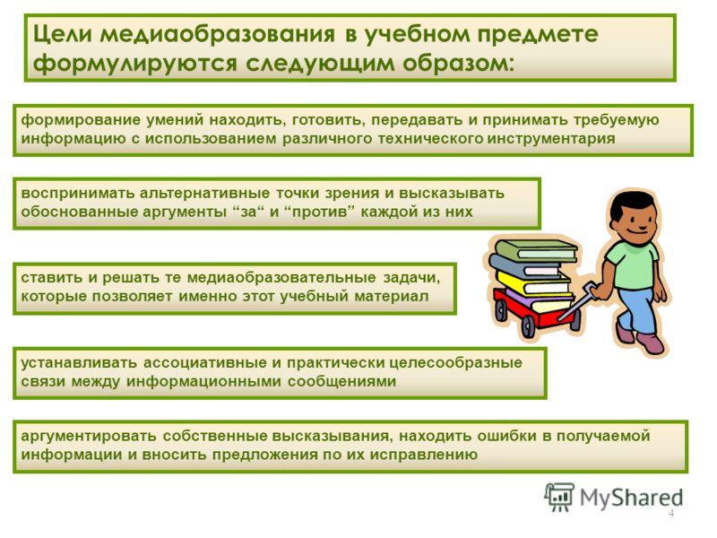 4 Цели медиаобразования в учебном предмете формулируются следующим образом: ставить и решать те медиаобразовательные задачи, которые позволяет именно этот учебный материал формирование умений находить, готовить, передавать и принимать требуемую инфор
