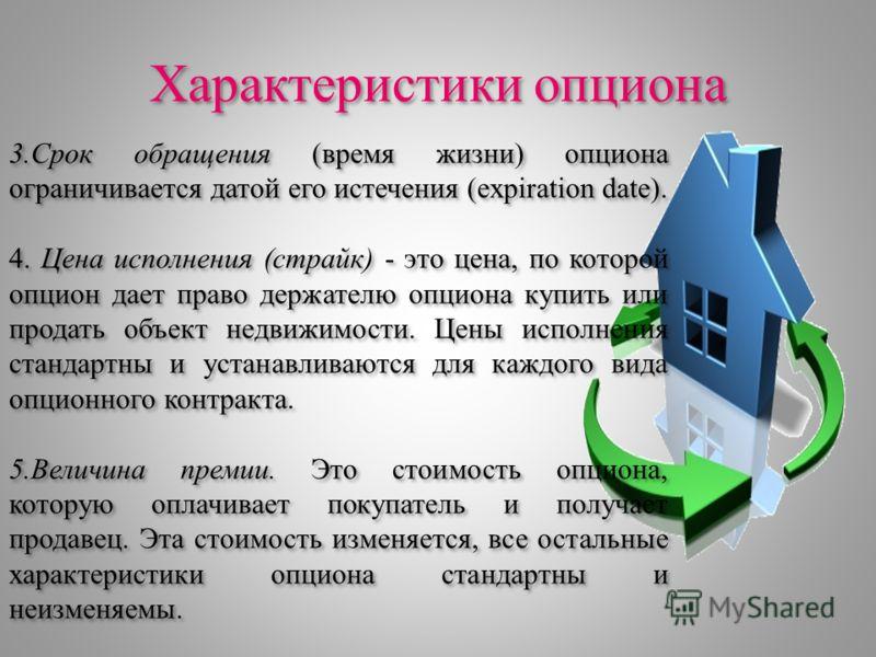 Характеристики опциона 3.Срок обращения (время жизни) опциона ограничивается датой его истечения (expiration date). 4. Цена исполнения (страйк) - это цена, по которой опцион дает право держателю опциона купить или продать объект недвижимости. Цены ис