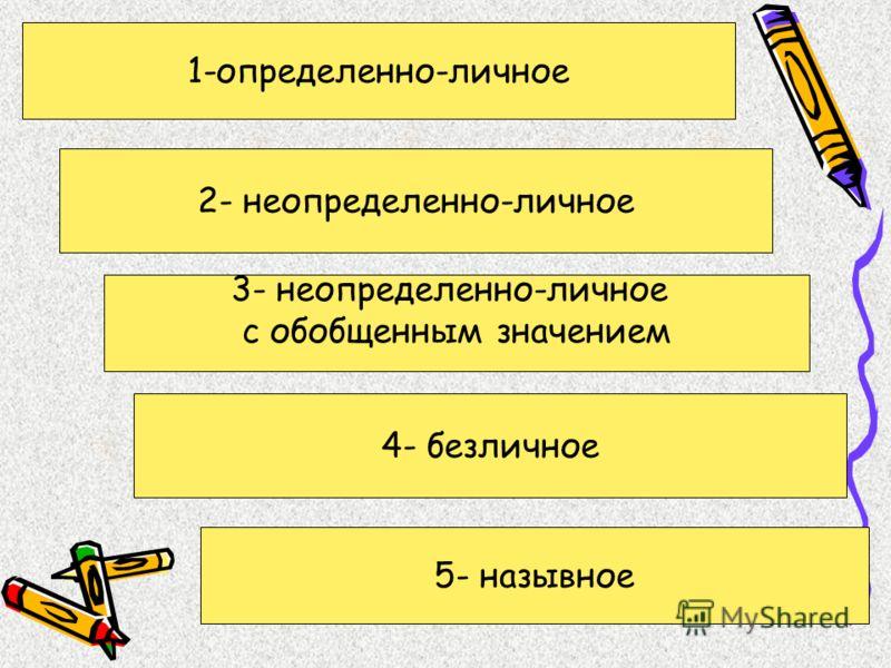 1-определенно-личное 2- неопределенно-личное 3- неопределенно-личное с обобщенным значением 4- безличное 5- назывное