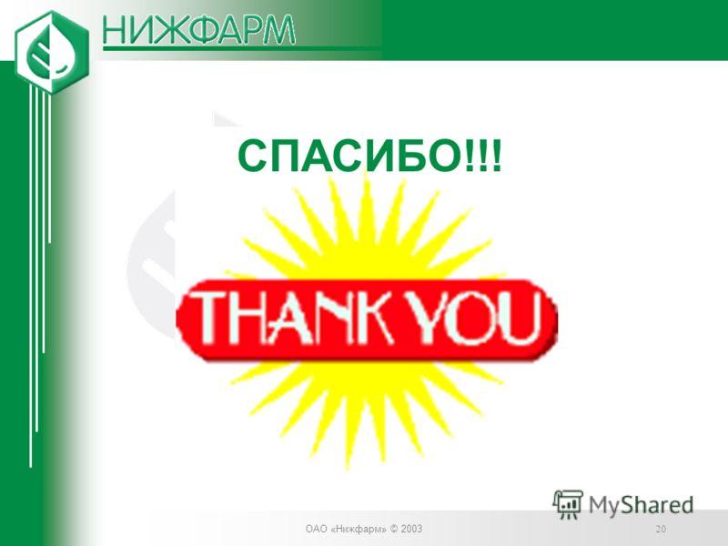 ОАО «Нижфарм» © 2003 20 СПАСИБО!!!