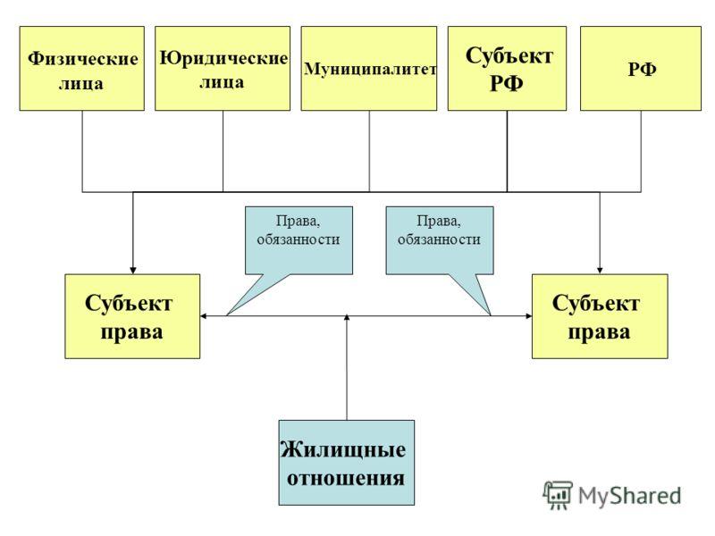 Субъект права Субъект права Жилищные отношения РФ Субъект РФ Муниципалитет Юридические лица Физические лица Права, обязанности