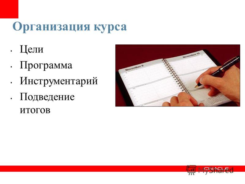 Организация курса Цели Программа Инструментарий Подведение итогов