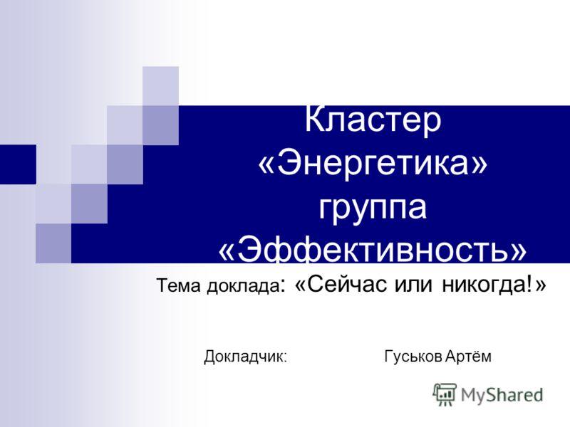 Кластер «Энергетика» группа «Эффективность» Тема доклада : «Сейчас или никогда!» Докладчик: Гуськов Артём
