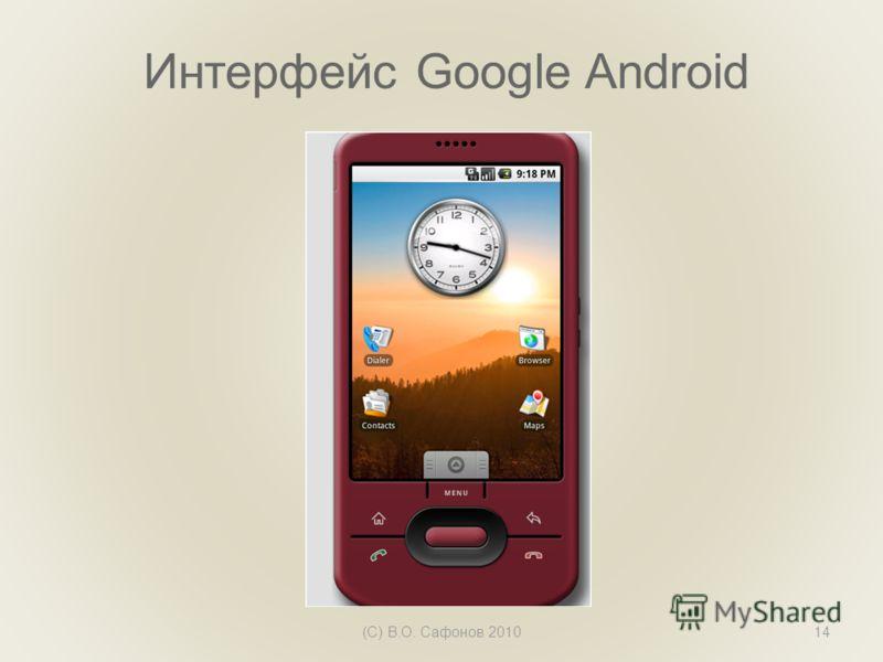 Интерфейс Google Android (С) В.О. Сафонов 201014