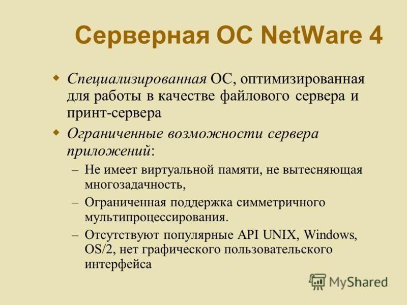 Серверная ОС NetWare 4 Специализированная ОС, оптимизированная для работы в качестве файлового сервера и принт-сервера Ограниченные возможности сервера приложений: – Не имеет виртуальной памяти, не вытесняющая многозадачность, – Ограниченная поддержк