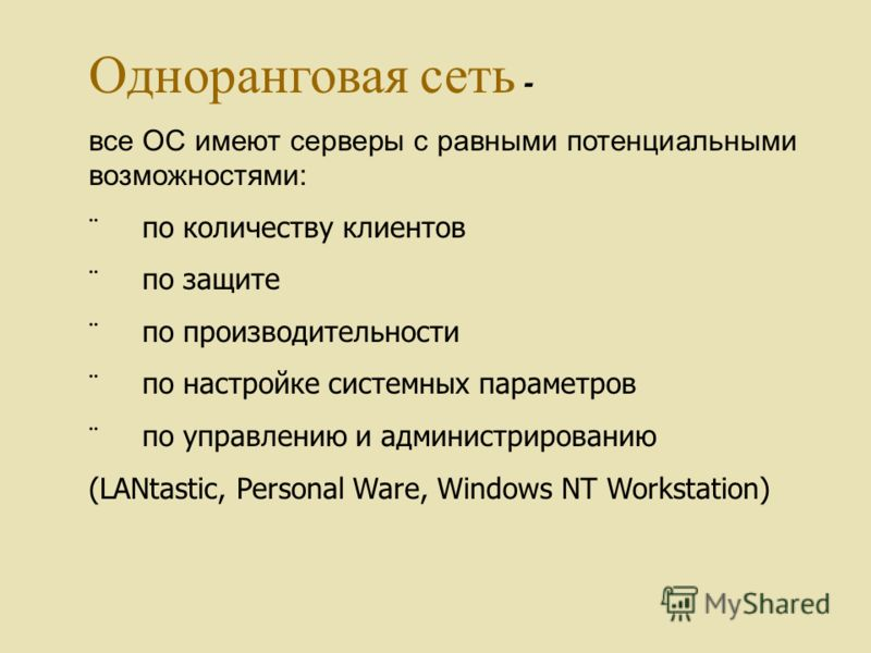 Одноранговая сеть - все ОС имеют серверы с равными потенциальными возможностями: по количеству клиентов по защите по производительности по настройке системных параметров по управлению и администрированию (LANtastic, Personal Ware, Windows NT Workstat