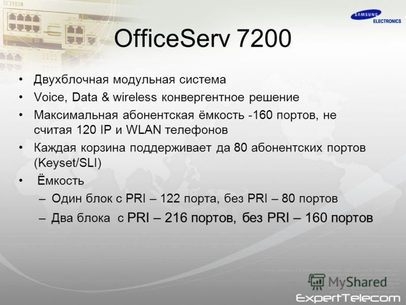 OfficeServ 7200 Двухблочная модульная система Voice, Data & wireless конвергентное решение Максимальная абонентская ёмкость -160 портов, не считая 120 IP и WLAN телефонов Каждая корзина поддерживает да 80 абонентских портов (Keyset/SLI) Ёмкость –Один