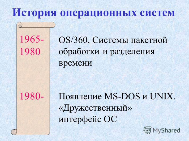 История операционных систем 1965- 1980 1980- OS/360, Системы пакетной обработки и разделения времени Появление MS-DOS и UNIX. «Дружественный» интерфейс ОС