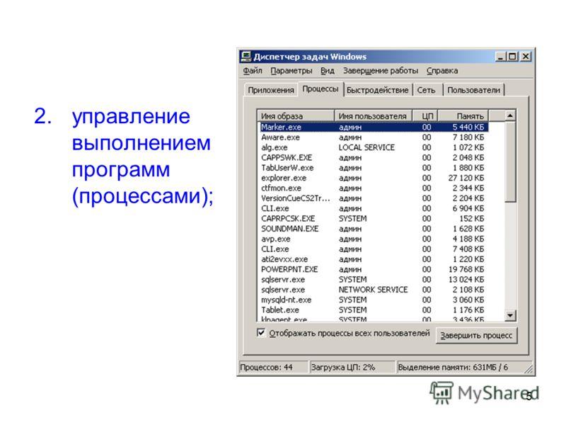 5 2.управление выполнением программ (процессами);