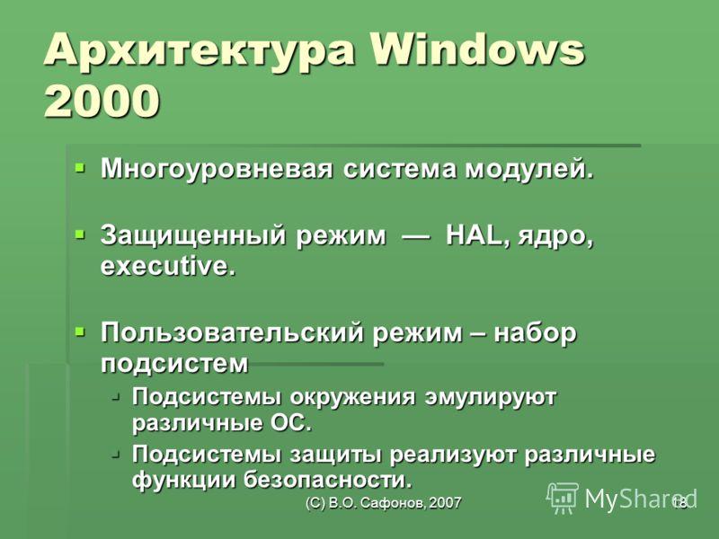 (C) В.О. Сафонов, 200718 Архитектура Windows 2000 Многоуровневая система модулей. Многоуровневая система модулей. Защищенный режим HAL, ядро, executive. Защищенный режим HAL, ядро, executive. Пользовательский режим – набор подсистем Пользовательский