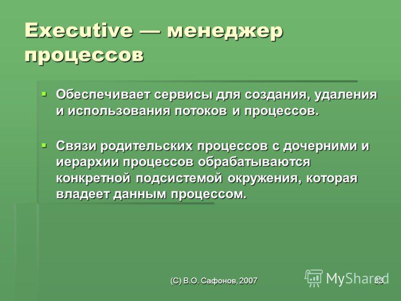 (C) В.О. Сафонов, 200733 Executive менеджер процессов Обеспечивает сервисы для создания, удаления и использования потоков и процессов. Обеспечивает сервисы для создания, удаления и использования потоков и процессов. Связи родительских процессов с доч