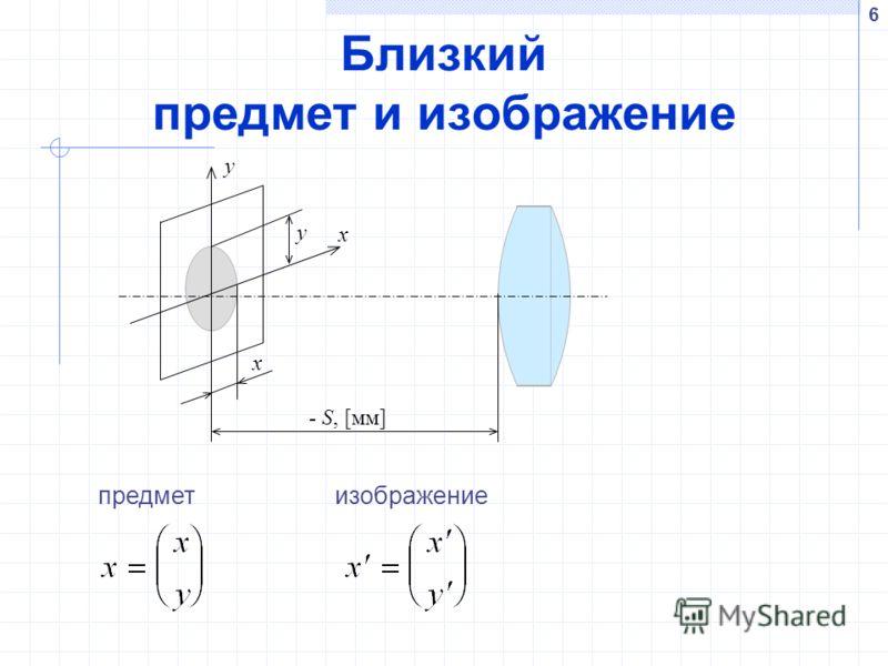 6 Близкий предмет и изображение y x y x - S, [мм] предметизображение
