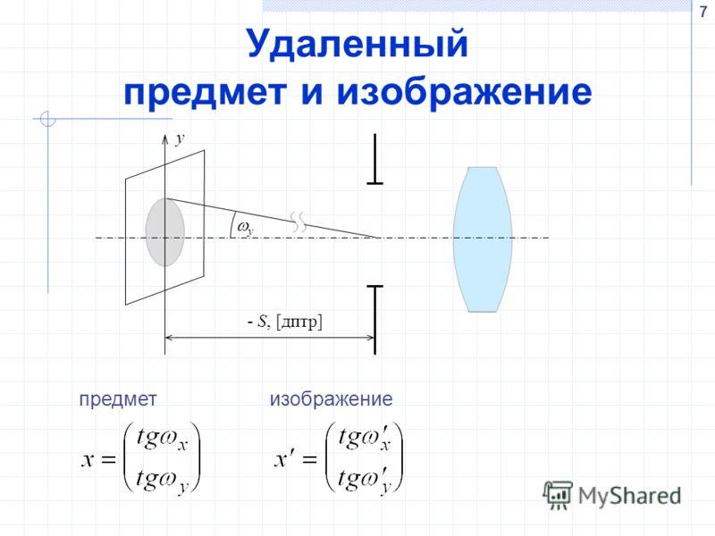7 Удаленный предмет и изображение y y - S, [дптр] предметизображение