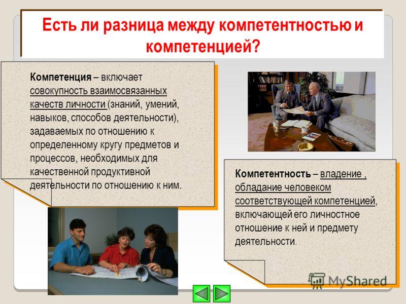 Есть ли разница между компетентностью и компетенцией? Компетенция – включает совокупность взаимосвязанных качеств личности (знаний, умений, навыков, способов деятельности), задаваемых по отношению к определенному кругу предметов и процессов, необходи