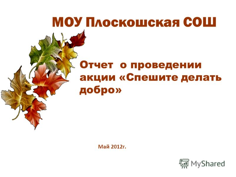 МОУ Плоскошская СОШ Отчет о проведении акции «Спешите делать добро» Май 2012г.