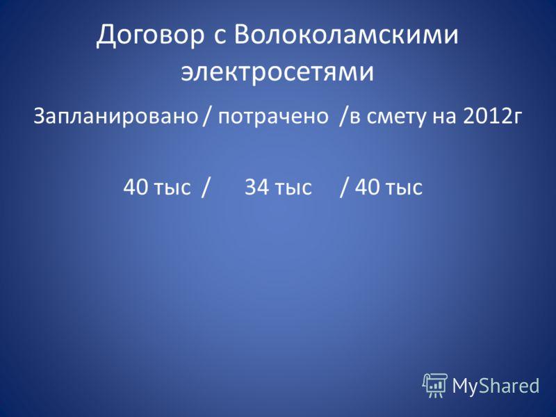 Договор с Волоколамскими электросетями Запланировано / потрачено /в смету на 2012г 40 тыс / 34 тыс / 40 тыс