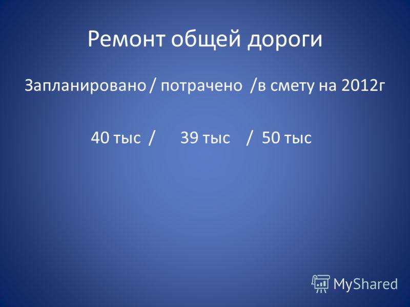 Ремонт общей дороги Запланировано / потрачено /в смету на 2012г 40 тыс / 39 тыс / 50 тыс