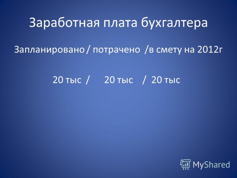 Заработная плата бухгалтера Запланировано / потрачено /в смету на 2012г 20 тыс / 20 тыс / 20 тыс
